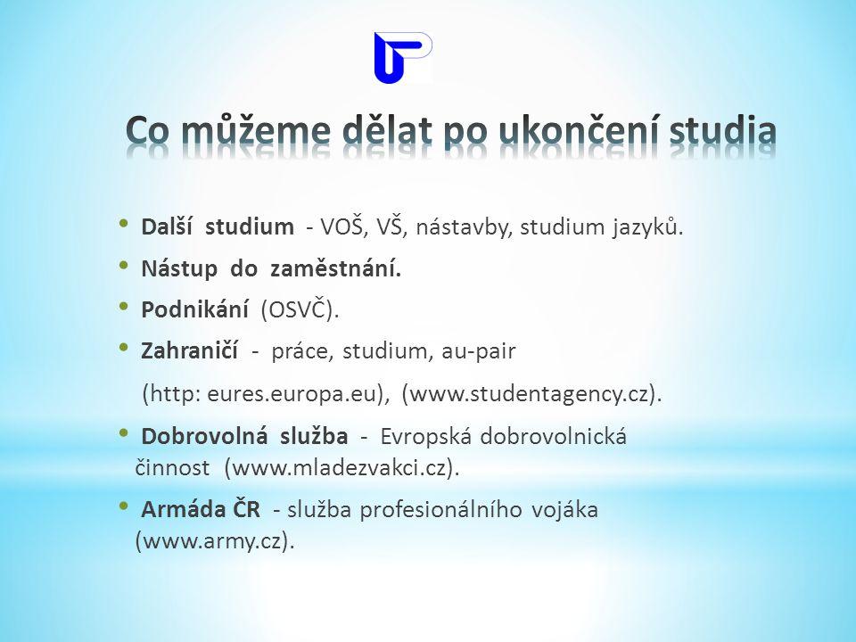 • Další studium - VOŠ, VŠ, nástavby, studium jazyků. • Nástup do zaměstnání. • Podnikání (OSVČ). • Zahraničí - práce, studium, au-pair (http: eures.eu