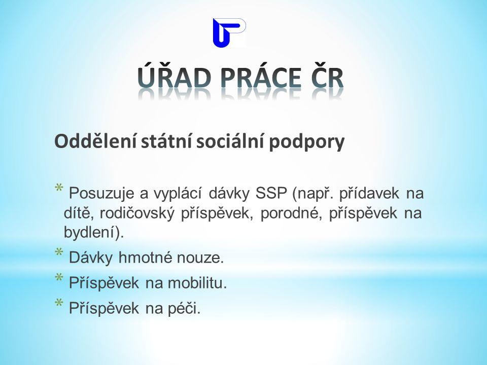 Oddělení státní sociální podpory * Posuzuje a vyplácí dávky SSP (např. přídavek na dítě, rodičovský příspěvek, porodné, příspěvek na bydlení). * Dávky