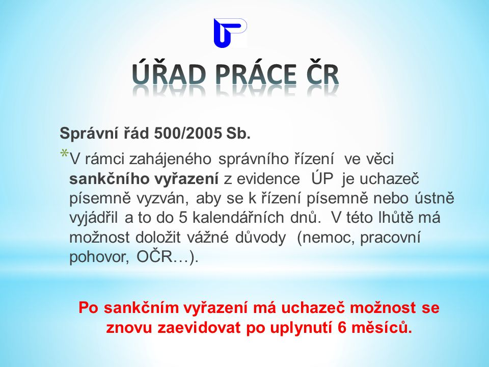 Správní řád 500/2005 Sb. * V rámci zahájeného správního řízení ve věci sankčního vyřazení z evidence ÚP je uchazeč písemně vyzván, aby se k řízení pís