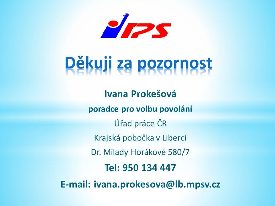 Ivana Prokešová poradce pro volbu povolání Úřad práce ČR Krajská pobočka v Liberci Dr. Milady Horákové 580/7 Tel: 950 134 447 E-mail: ivana.prokesova@