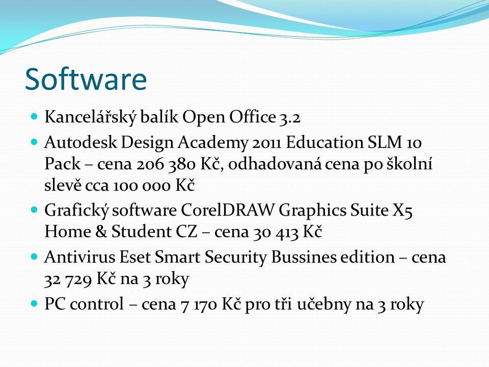 Software  Kancelářský balík Open Office 3.2  Autodesk Design Academy 2011 Education SLM 10 Pack – cena 206 380 Kč, odhadovaná cena po školní slevě c