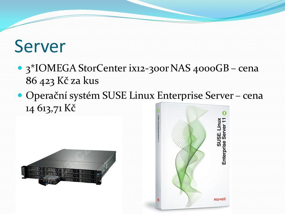Server  3*IOMEGA StorCenter ix12-300r NAS 4000GB – cena 86 423 Kč za kus  Operační systém SUSE Linux Enterprise Server – cena 14 613,71 Kč