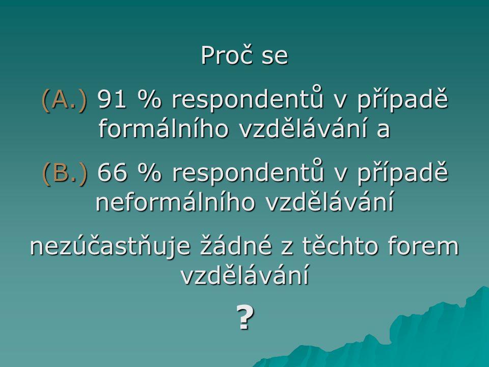 Proč se (A.) 91 % respondentů v případě formálního vzdělávání a (B.) 66 % respondentů v případě neformálního vzdělávání nezúčastňuje žádné z těchto fo