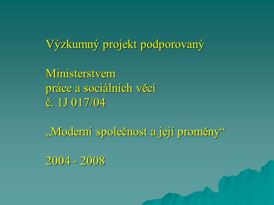 """Výzkumný projekt podporovaný Ministerstvem práce a sociálních věcí č. 1J 017/04 """"Moderní společnost a její proměny"""" 2004 - 2008"""