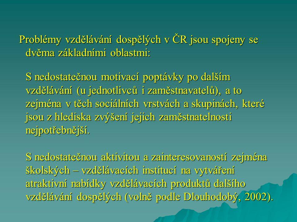 Problémy vzdělávání dospělých v ČR jsou spojeny se dvěma základními oblastmi: S nedostatečnou motivací poptávky po dalším vzdělávání (u jednotlivců i