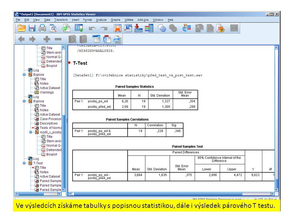 Ve výsledcích získáme tabulky s popisnou statistikou, dále i výsledek párového T testu.