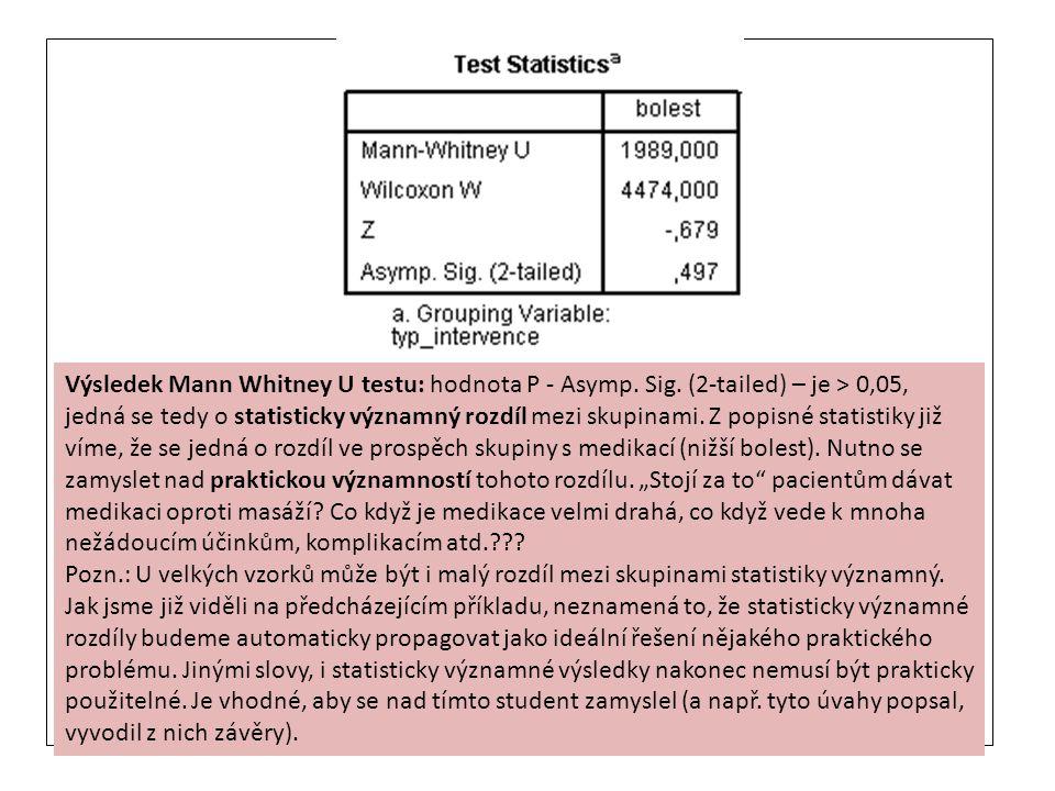 Výsledek Mann Whitney U testu: hodnota P - Asymp. Sig. (2-tailed) – je > 0,05, jedná se tedy o statisticky významný rozdíl mezi skupinami. Z popisné s