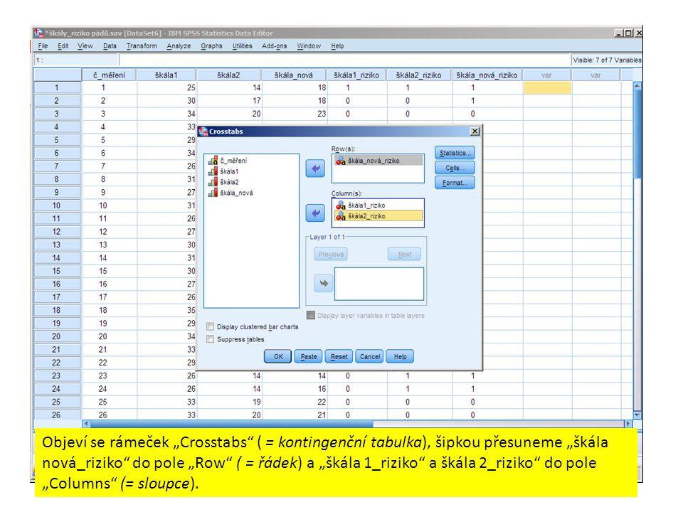 """Objeví se rámeček """"Crosstabs"""" ( = kontingenční tabulka), šipkou přesuneme """"škála nová_riziko"""" do pole """"Row"""" ( = řádek) a """"škála 1_riziko"""" a škála 2_ri"""