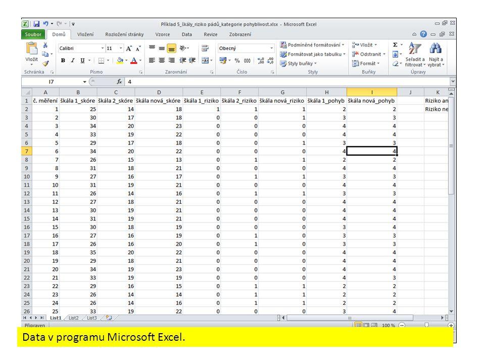 Data v programu Microsoft Excel.