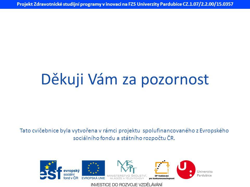 Projekt Zdravotnické studijní programy v inovaci na FZS Univerzity Pardubice CZ.1.07/2.2.00/15.0357 Děkuji Vám za pozornost Tato cvičebnice byla vytvo