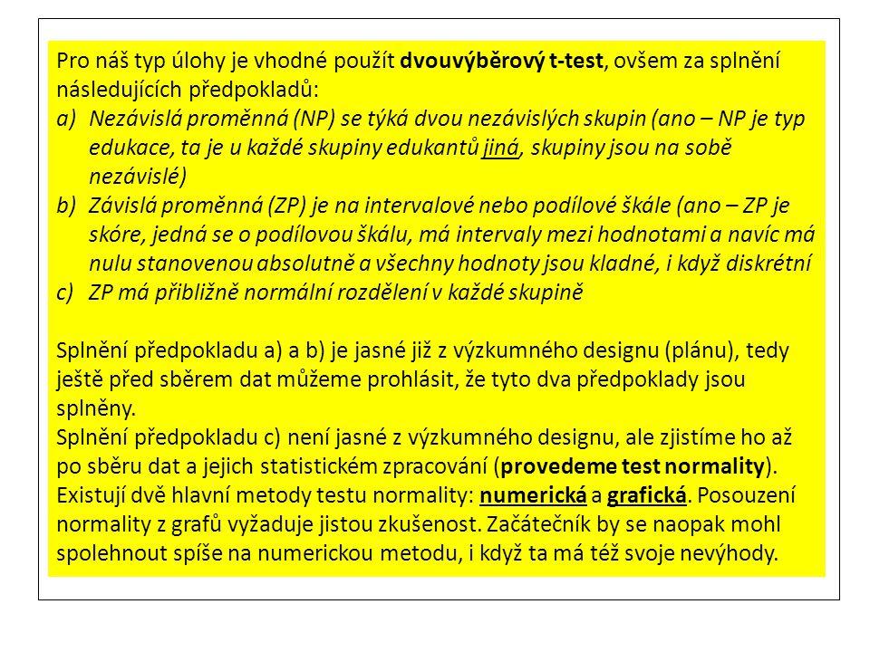 Pro náš typ úlohy je vhodné použít dvouvýběrový t-test, ovšem za splnění následujících předpokladů: a)Nezávislá proměnná (NP) se týká dvou nezávislých
