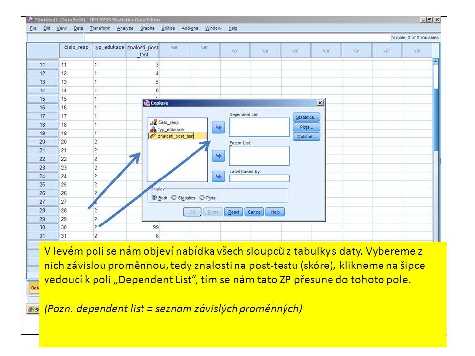 V levém poli se nám objeví nabídka všech sloupců z tabulky s daty. Vybereme z nich závislou proměnnou, tedy znalosti na post-testu (skóre), klikneme n
