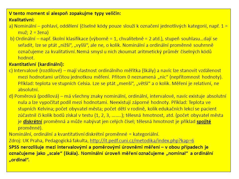"""Zkopírování dat do SPSS – v """"Data view ."""