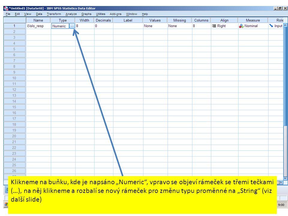 """…a získání popisné statistiky (malý rámeček získáme kliknutím na """"Statistics , pak klikneme """"Continue )."""