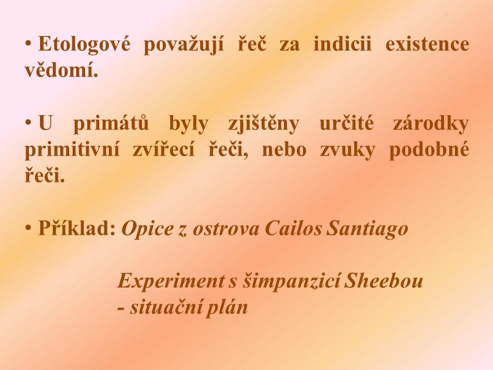 • Etologové považují řeč za indicii existence vědomí.