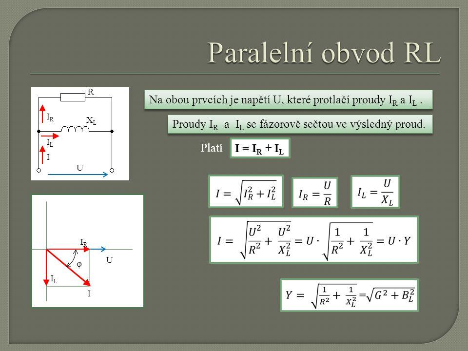 I R XLXL IRIR ILIL U Na obou prvcích je napětí U, které protlačí proudy I R a I L. U IRIR ILIL I φ Platí I = I R + I L Proudy I R a I L se fázorově se