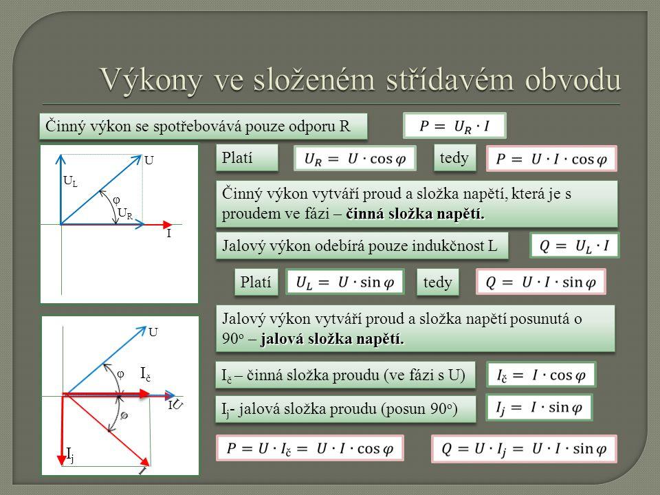 Pro činný a jalový výkon tedy platí U.I zdánlivý výkon S [VA] Součin U.I nazýváme zdánlivý výkon S [VA] (VA – voltampér) pravoúhlý trojúhelník Z předchozích vztahů vyplývá, že výkony tvoří pravoúhlý trojúhelník.
