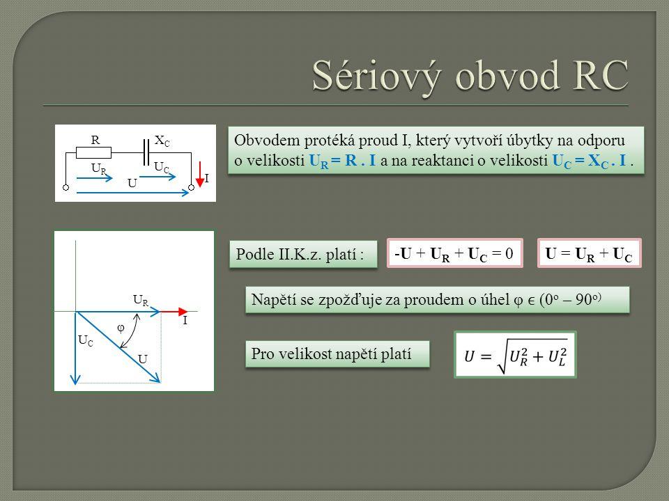 U URUR UCUC RXCXC I I URUR UCUC U φ Obvodem protéká proud I, který vytvoří úbytky na odporu o velikosti U R = R. I a na reaktanci o velikosti U C = X