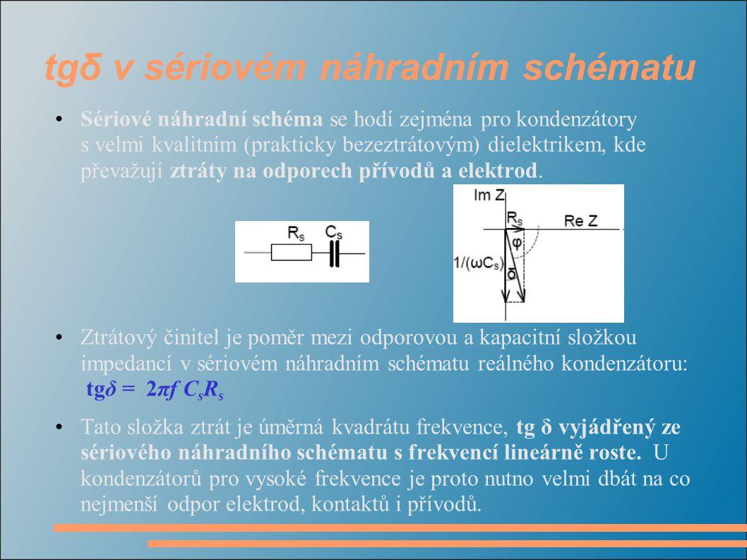 tgδ v sériovém náhradním schématu •Sériové náhradní schéma se hodí zejména pro kondenzátory s velmi kvalitním (prakticky bezeztrátovým) dielektrikem,