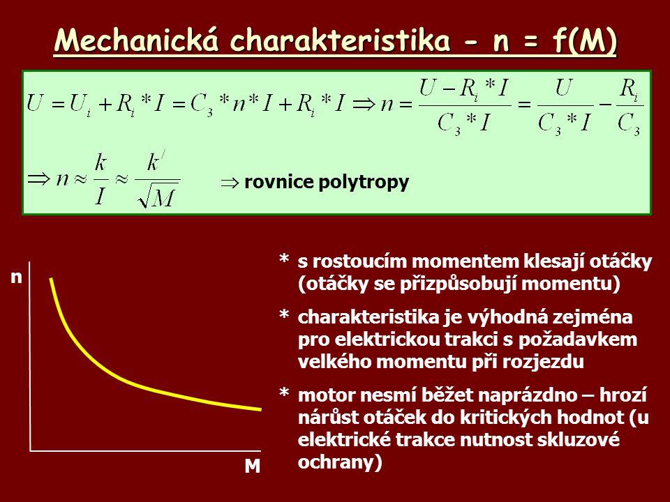 Mechanická charakteristika - n = f(M) n M *s rostoucím momentem klesají otáčky (otáčky se přizpůsobují momentu) *charakteristika je výhodná zejména pro elektrickou trakci s požadavkem velkého momentu při rozjezdu *motor nesmí běžet naprázdno – hrozí nárůst otáček do kritických hodnot (u elektrické trakce nutnost skluzové ochrany)  rovnice polytropy