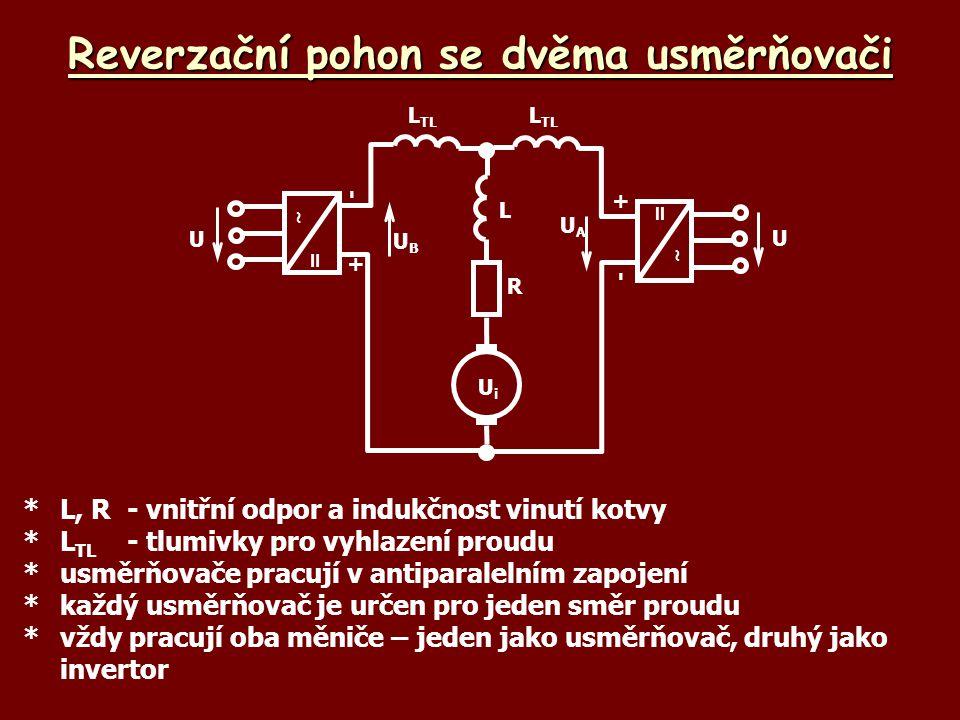 Reverzační pohon se dvěma usměrňovači *L, R-vnitřní odpor a indukčnost vinutí kotvy *L TL -tlumivky pro vyhlazení proudu *usměrňovače pracují v antipa
