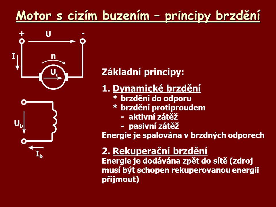 Motor s cizím buzením – principy brzdění UbUb IbIb U +- UiUi nI Základní principy: 1.Dynamické brzdění *brzdění do odporu *brzdění protiproudem -aktiv