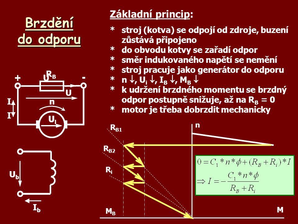Brzdění do odporu UbUb IbIb U +- UiUi nI Základní princip: *stroj (kotva) se odpojí od zdroje, buzení zůstává připojeno *do obvodu kotvy se zařadí odp