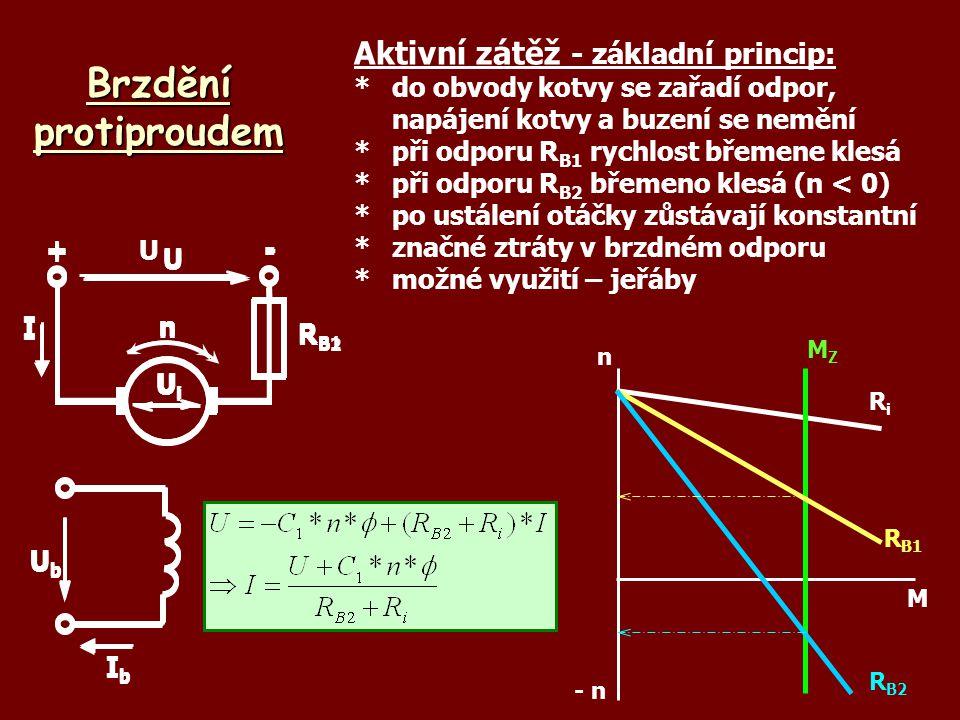 Brzdění protiproudem UbUb IbIb U +- UiUi nI Aktivní zátěž - základní princip: *do obvody kotvy se zařadí odpor, napájení kotvy a buzení se nemění *při