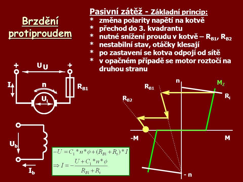 Brzdění protiproudem UbUb IbIb U +- UiUi nI Pasivní zátěž - Základní princip: *změna polarity napětí na kotvě *přechod do 3. kvadrantu *nutné snížení