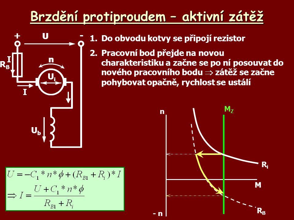 Brzdění protiproudem – aktivní zátěž 1.Do obvodu kotvy se připojí rezistor 2.Pracovní bod přejde na novou charakteristiku a začne se po ní posouvat do