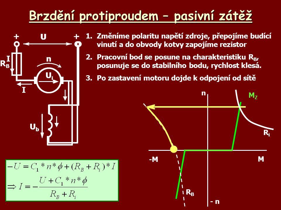 Brzdění protiproudem – pasivní zátěž 1.Změníme polaritu napětí zdroje, přepojíme budící vinutí a do obvody kotvy zapojíme rezistor 2.Pracovní bod se p