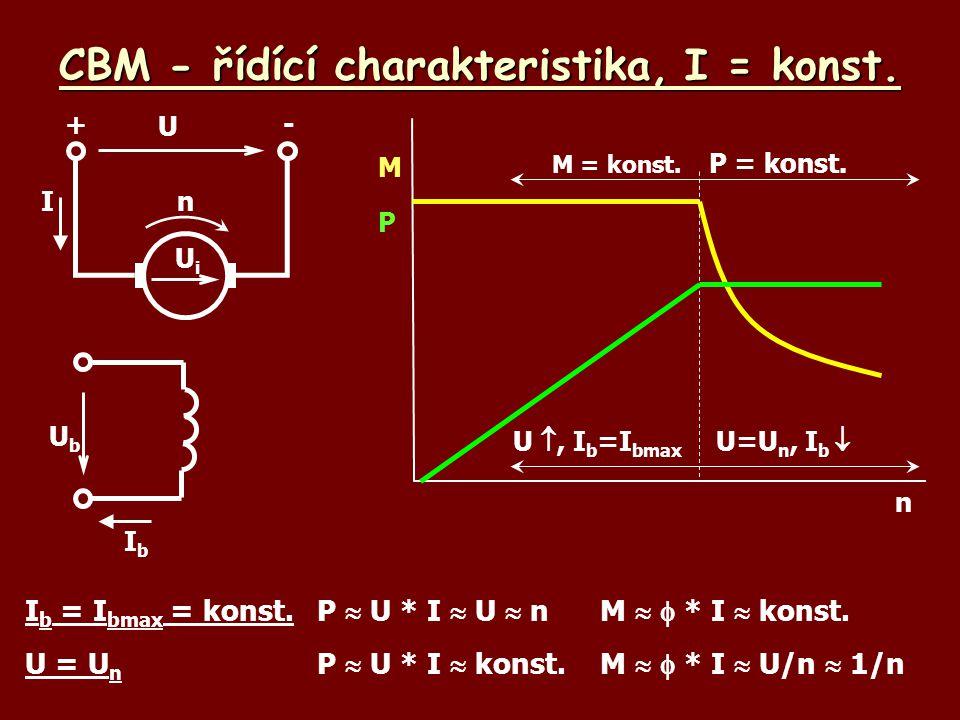 CBM - řídící charakteristika, I = konst. U , I b =I bmax n M UbUb IbIb U +- UiUi nI I b = I bmax = konst.P  U * I  U  n M   * I  konst. U = U n