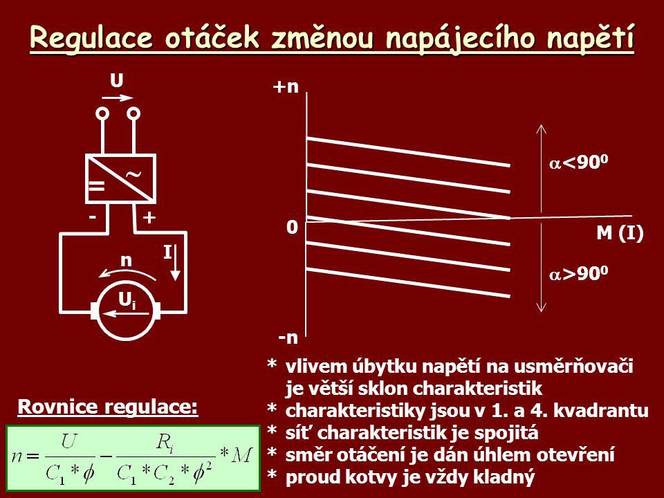 Regulace otáček změnou napájecího napětí M (I) +n Rovnice regulace: *vlivem úbytku napětí na usměrňovači je větší sklon charakteristik *charakteristik