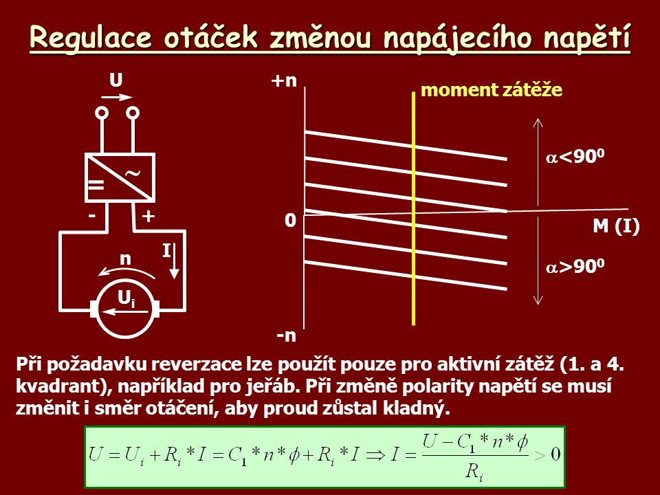 Brzdění protiproudem – aktivní zátěž 1.Do obvodu kotvy se připojí rezistor 2.Pracovní bod přejde na novou charakteristiku a začne se po ní posouvat do nového pracovního bodu  zátěž se začne pohybovat opačně, rychlost se ustálí UbUb U +- UiUi nI M n RBRB RiRi - n MZMZ UbUb U +- UiUi n I RBRB