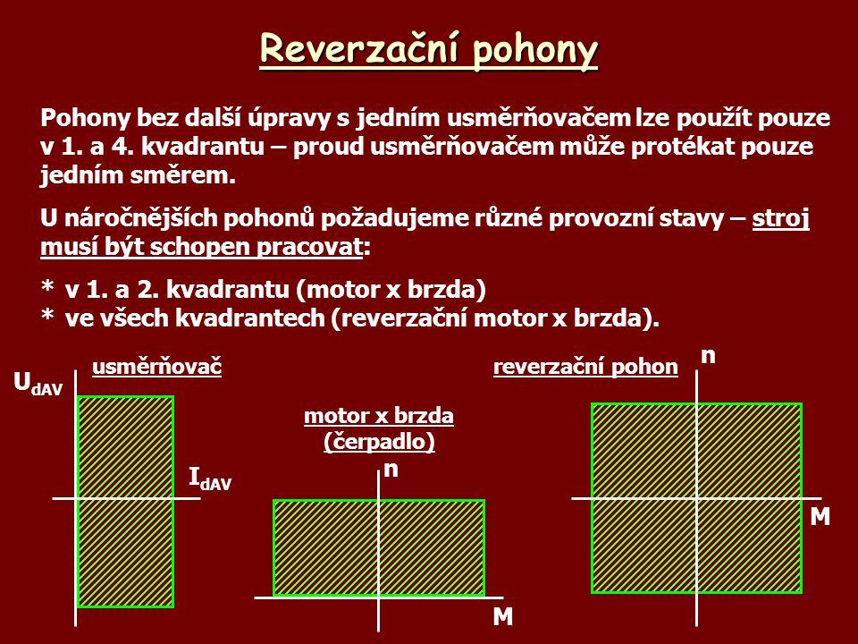Brzdění protiproudem UbUb IbIb U +- UiUi nI Aktivní zátěž - základní princip: *do obvody kotvy se zařadí odpor, napájení kotvy a buzení se nemění *při odporu R B1 rychlost břemene klesá *při odporu R B2 břemeno klesá (n < 0) *po ustálení otáčky zůstávají konstantní *značné ztráty v brzdném odporu *možné využití – jeřáby M n R B1 RiRi R B2 UbUb IbIb U +- UiUi n I R B1 UbUb IbIb U +- UiUi n I R B2 - n MZMZ
