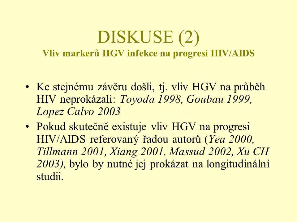 DISKUSE (2) Vliv markerů HGV infekce na progresi HIV/AIDS •Ke stejnému závěru došli, tj. vliv HGV na průběh HIV neprokázali: Toyoda 1998, Goubau 1999,