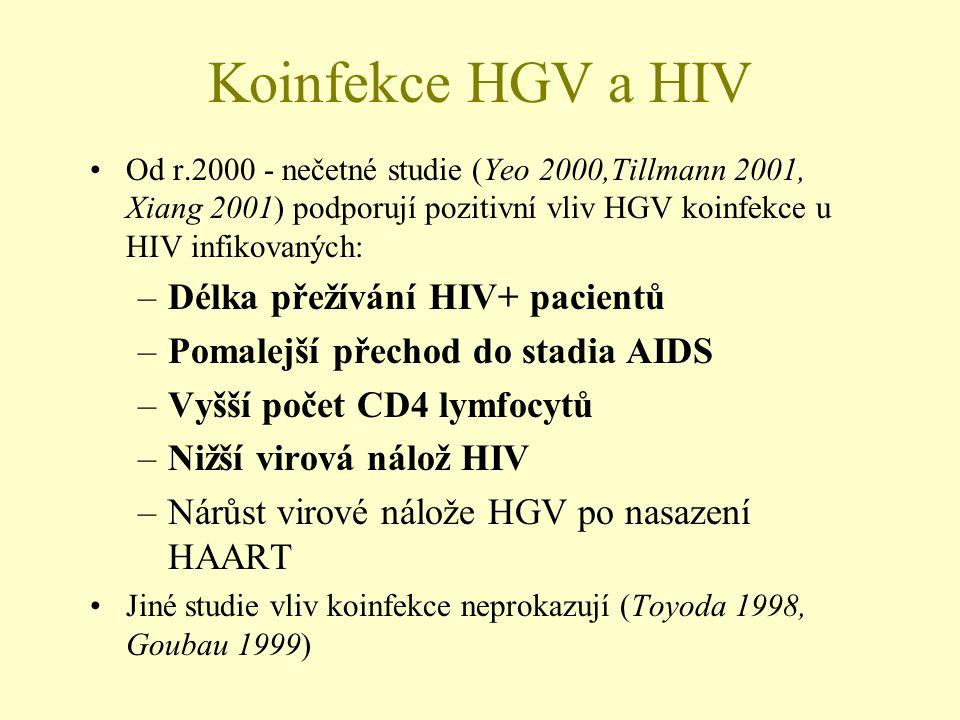 Koinfekce HGV a HIV •Od r.2000 - nečetné studie (Yeo 2000,Tillmann 2001, Xiang 2001) podporují pozitivní vliv HGV koinfekce u HIV infikovaných: –Délka přežívání HIV+ pacientů –Pomalejší přechod do stadia AIDS –Vyšší počet CD4 lymfocytů –Nižší virová nálož HIV –Nárůst virové nálože HGV po nasazení HAART •Jiné studie vliv koinfekce neprokazují (Toyoda 1998, Goubau 1999)