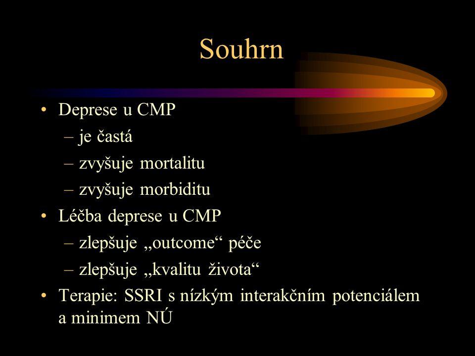 Prevence deprese po CMP ( studie 52 týdnů ) •mianserin = placebo (Palomäkki 1999) •sertralin > placebo (Rasmussen 2000)