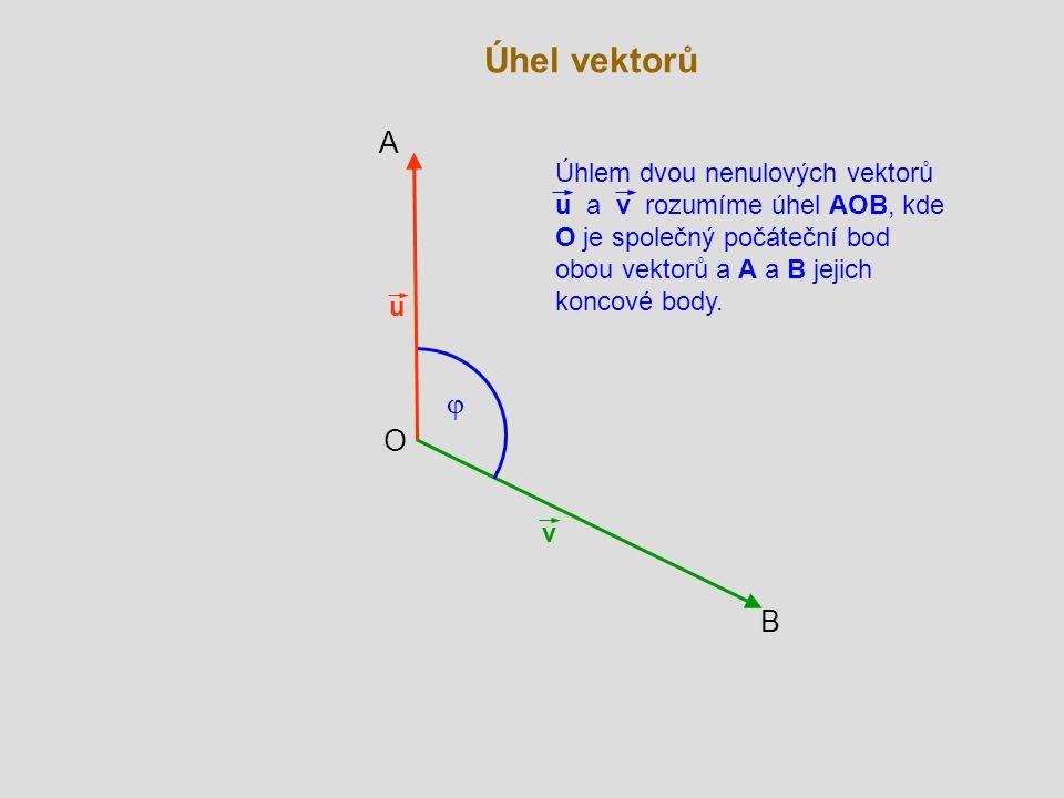 v u  A B O Úhlem dvou nenulových vektorů u a v rozumíme úhel AOB, kde O je společný počáteční bod obou vektorů a A a B jejich koncové body.