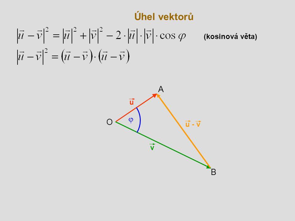 Úhel vektorů v B O u  A u - v (kosinová věta)