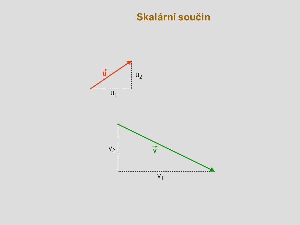 Kolmé vektory v B O u  A Skalární součin dvou nenulových vektorů je roven nule, právě když jsou vektory na sebe kolmé.