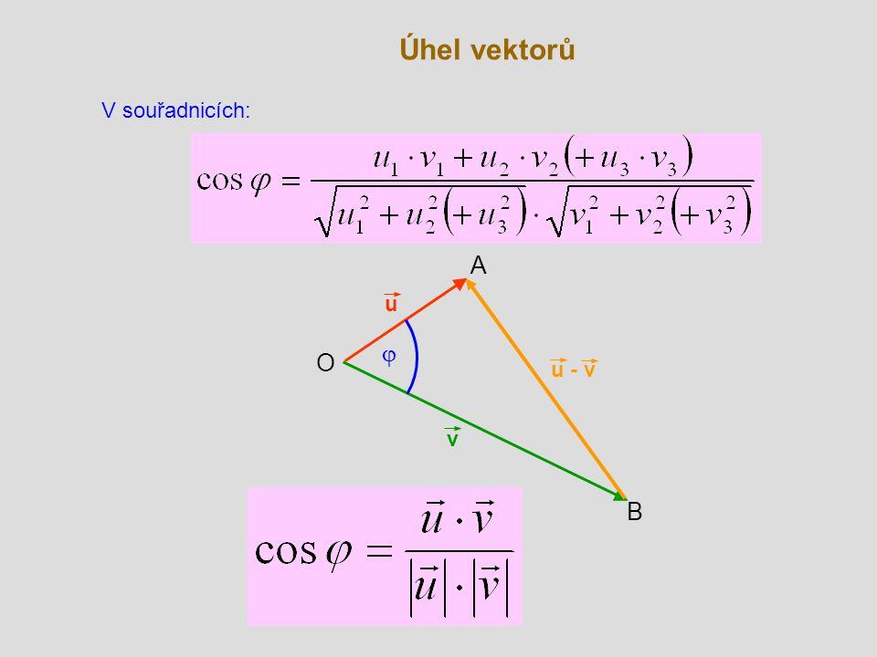 Úhel vektorů v B O u  A u - v V souřadnicích: