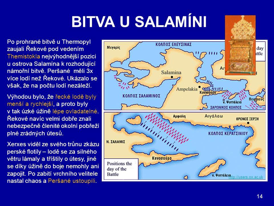 BITVA U SALAMÍNI http://users.ox.ac.uk Po prohrané bitvě u Thermopyl zaujali Řekové pod vedením Themistokla nejvýhodnější pozici u ostrova Salamína k