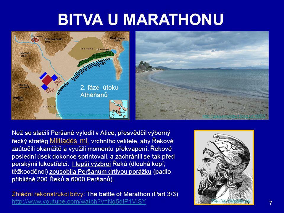 BITVA U MARATHONU 1. fáze útoku Athéňanů 2. fáze útoku Athéňanů http://room162g.edublogs.org Než se stačili Peršané vylodit v Atice, přesvědčil výborn