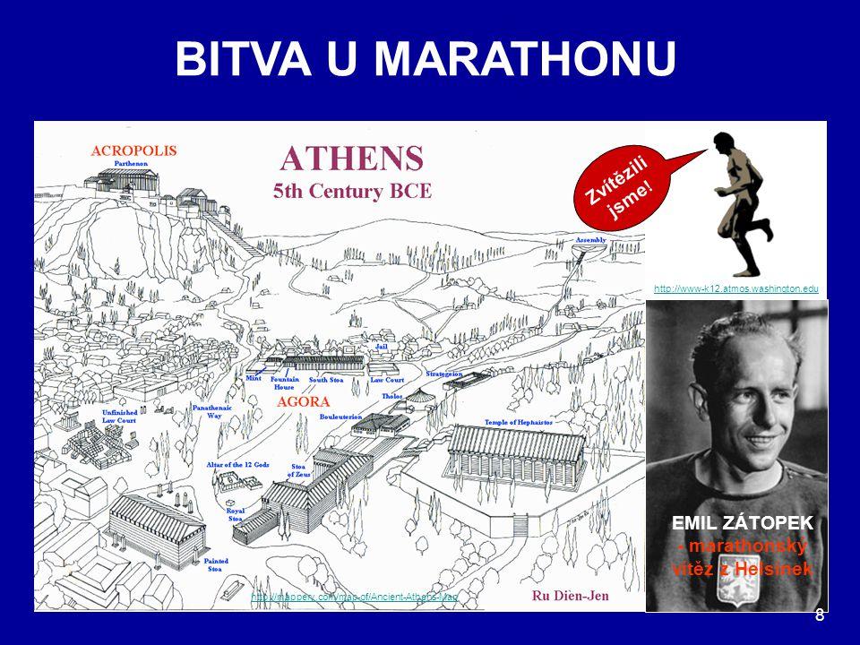 BITVA U MARATHONU http://mappery.com/map-of/Ancient-Athens-Map http://www-k12.atmos.washington.edu Zvítězili jsme ! Po vítězné bitvě běžel do Athén po