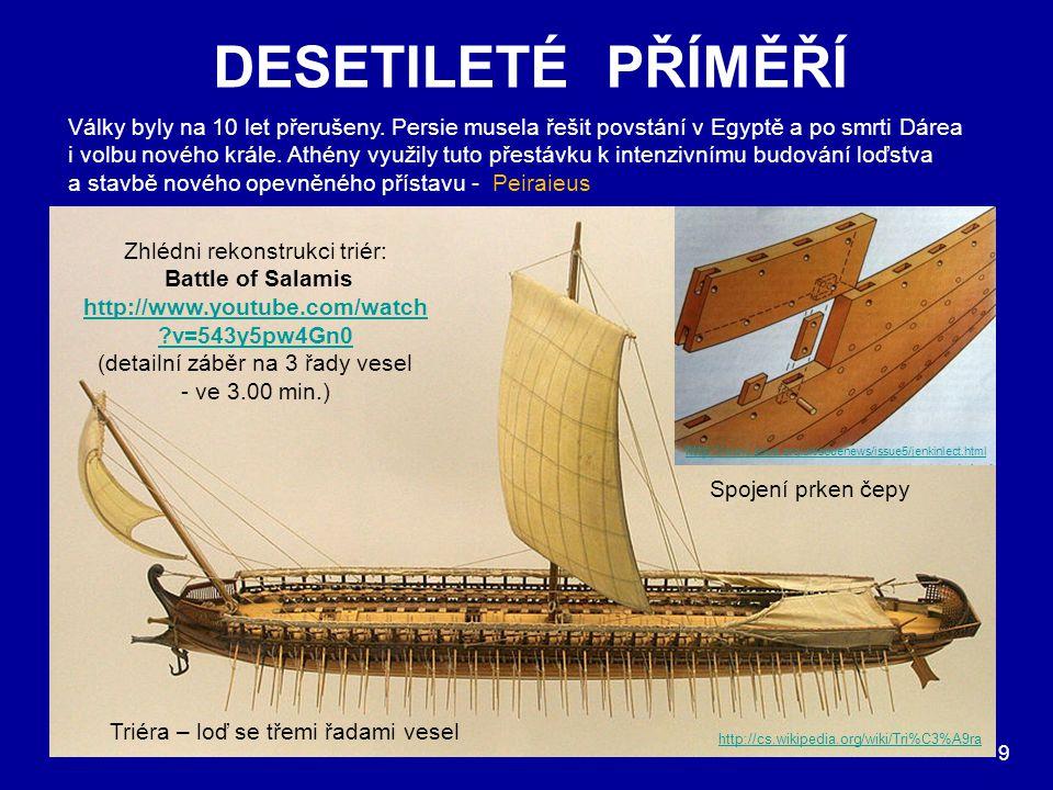 DESETILETÉ PŘÍMĚŘÍ 9 Války byly na 10 let přerušeny. Persie musela řešit povstání v Egyptě a po smrti Dárea i volbu nového krále. Athény využily tuto