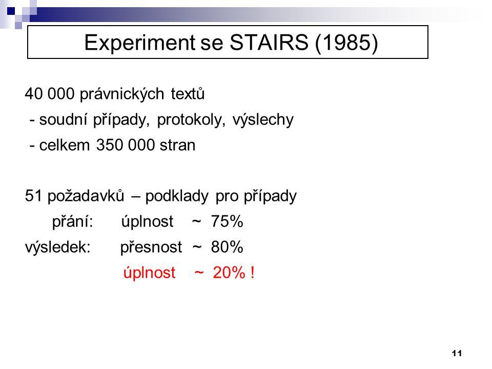11 Experiment se STAIRS (1985) 40 000 právnických textů - soudní případy, protokoly, výslechy - celkem 350 000 stran 51 požadavků – podklady pro přípa