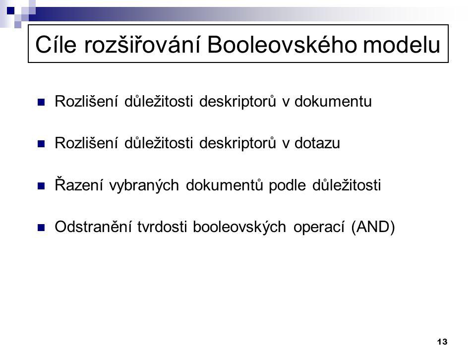 13 Cíle rozšiřování Booleovského modelu  Rozlišení důležitosti deskriptorů v dokumentu  Rozlišení důležitosti deskriptorů v dotazu  Řazení vybranýc