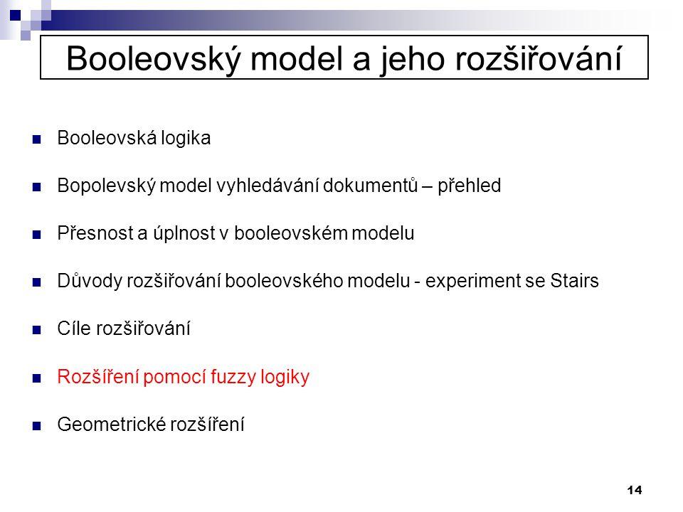 14 Booleovský model a jeho rozšiřování  Booleovská logika  Bopolevský model vyhledávání dokumentů – přehled  Přesnost a úplnost v booleovském model