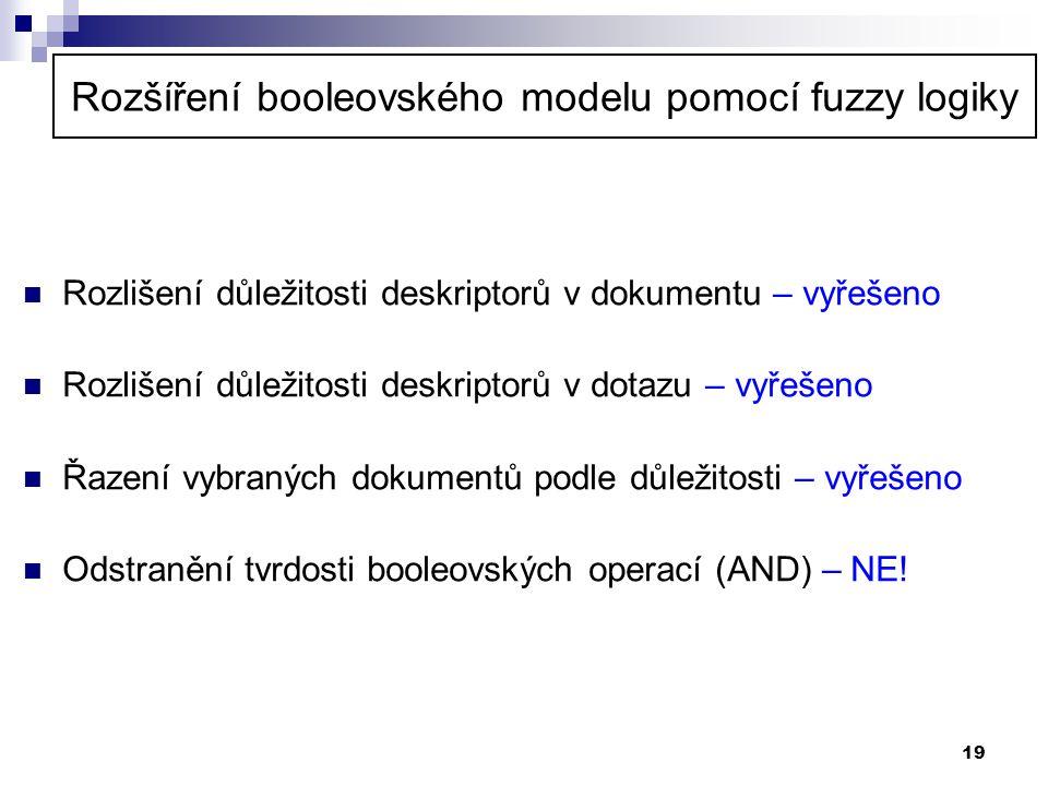 19 Rozšíření booleovského modelu pomocí fuzzy logiky  Rozlišení důležitosti deskriptorů v dokumentu – vyřešeno  Rozlišení důležitosti deskriptorů v